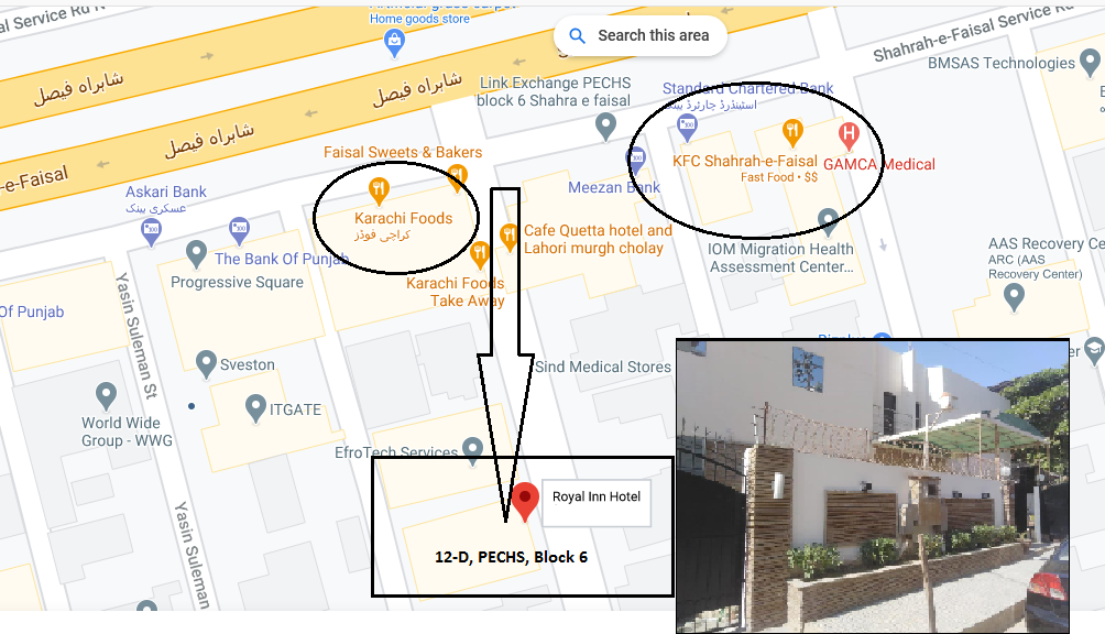 Hotel Royal Inn, 12-D, Block 6, PECHS, Karachi